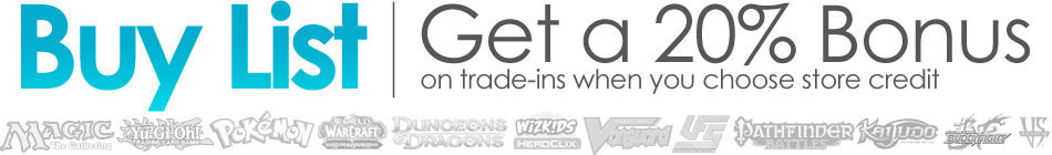 Coolstuffinc.com buy list logo. we buy magic the gathering, yu-gi-oh!, pokemon, world of warcraft, dungeons and dragons, heroclix, vanguard, ufs, pathfinder battles, axis & allies, legend of five rings, and VS system